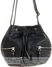 Pierre Cardin leather drawstring handbag PC1870 BLACK